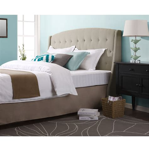 bedroom with tufted headboard dorel asia tufted headboard chrome king