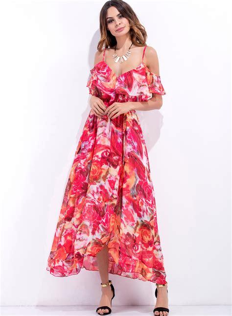 Spaghetti Floral Dress s spaghetti flounce sleeve floral print maxi