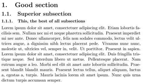 what are the first three subsections in the medicine section numbering i want to place a dot after the numbers of