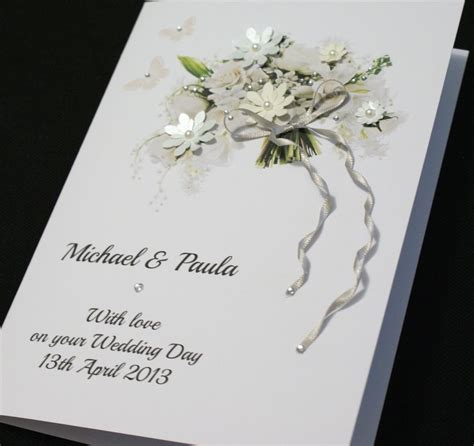 Handmade Wedding Cards Uk - large a5 handmade personalised beautiful bouquet