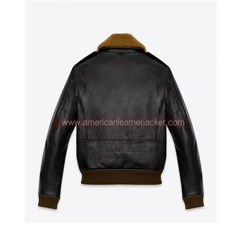 Jaket None master of none dev leather jacket with fur collar