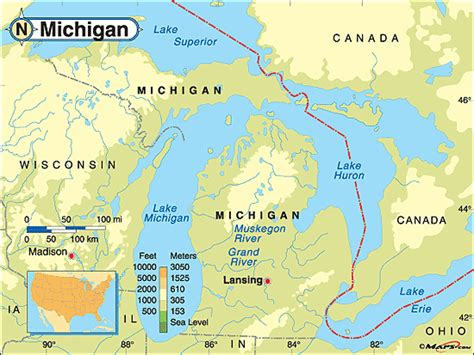 physical map of michigan michigan physical map by maps from maps world s