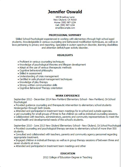 psychology resume exles professional school psychologist templates to showcase