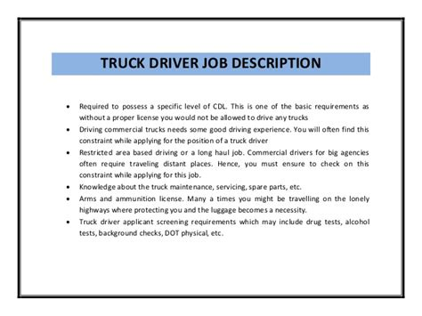 Truck Driver Description Resume truck driver resume sle pdf