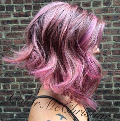 Black And Pink Hairstyles by Pretty Pink And Purple Wavy Hairstyle Styles Weekly
