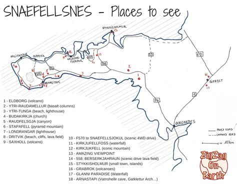 places to visit in map snaefellsnes peninsula iceland guide map places to see
