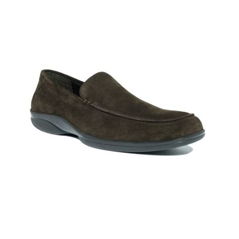 slip on suede loafers calvin klein suede slip on loafers in brown for