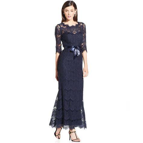 xscape illusion lace ribbon belt gown in blue navy lyst