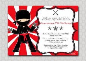 ninja birthday invitation printable party digital invite