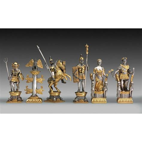 Romans vs Egyptians Themed Extra Large Chess Pieces   Gold