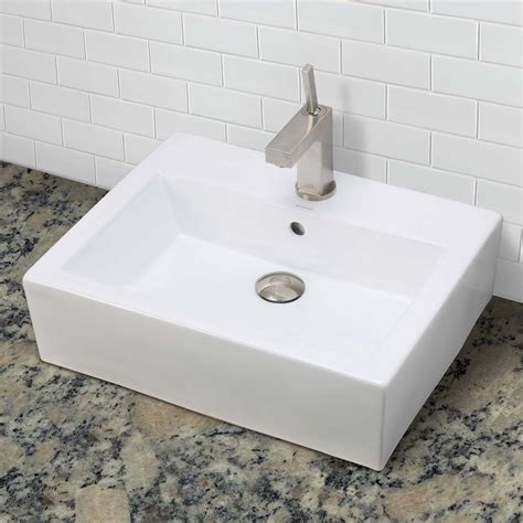 above counter bathroom sinks decolav bluebell 1417 1 cwh rectangular above counter vitreous china bathroom sink