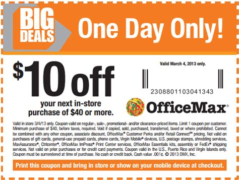 Office Max Coupon Code by Flash Sale At Office Max Print This 10 40 Coupon