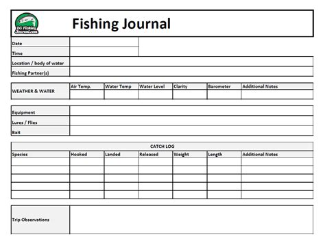 Fishing Journal Template record your fishing trip data bc fishing journal