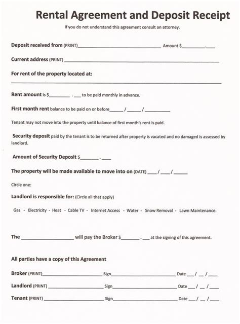 printable landlord lease agreement printable sle free printable rental agreements form