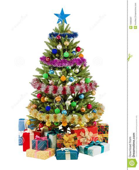 el 225 rbol de abeto de la navidad con las luces coloridas se