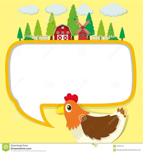 Little House Plans Free border design with chicken and farm stock vector image