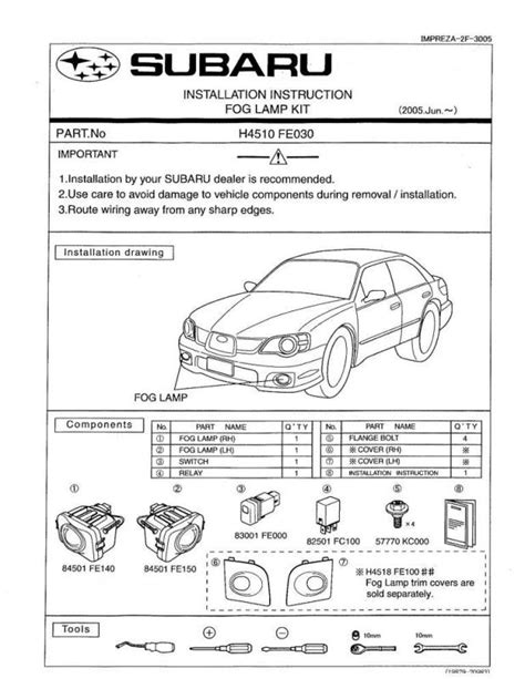 subaru headlight names 06 07 foglight install instructions from subaru i club
