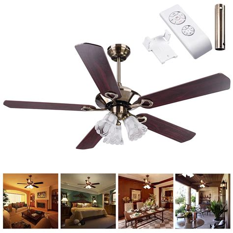 ceiling fan with light and remote 52 quot bronze finish ceiling fan light kit downrod reversible