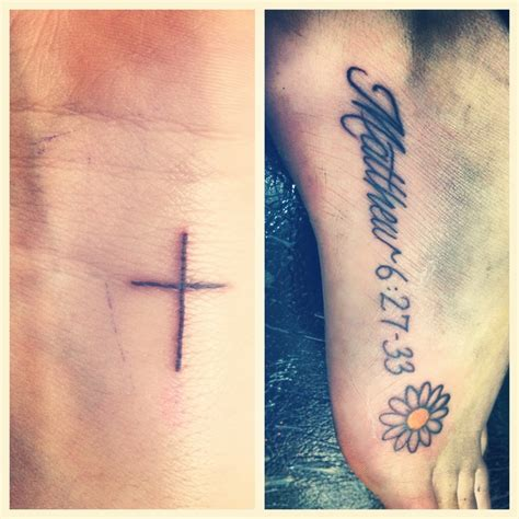 my tattoos favorite bible verse on my foot and small
