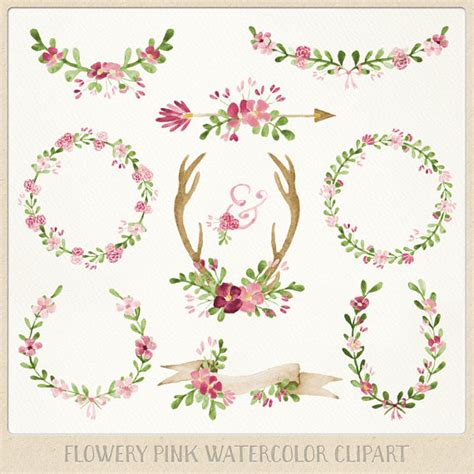 rose themed banner watercolor clipart graphics wedding theme pink wreaths