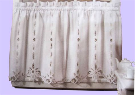 Lace Kitchen Curtains Battenburg Lace Cotton Kitchen Curtain White Caf 233 Tiers Valances New Ebay