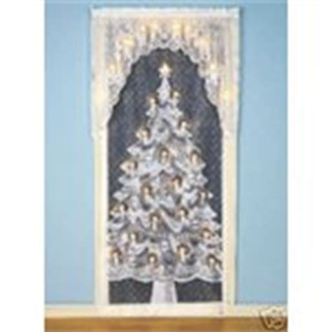 lighted christmas curtain panels lighted christmas tree lace curtain panel 36wx84l new