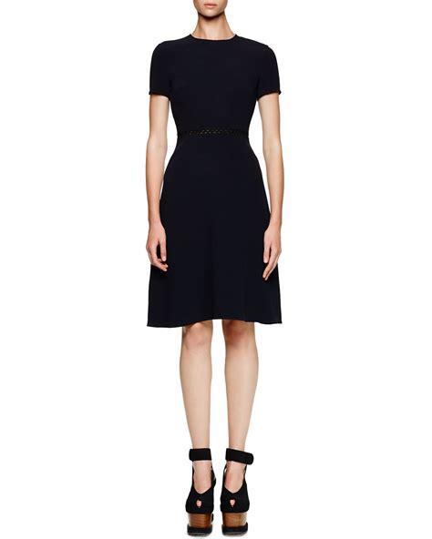 stella mccartney knit dress stella mccartney mesh waist a line knit dress in blue lyst