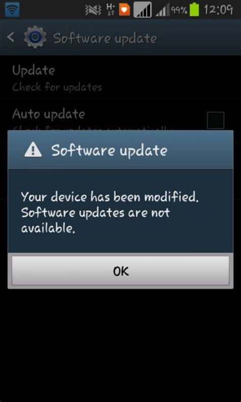 software updater for android cannot update software your device has been modified
