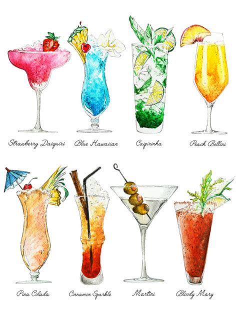 drink names cocktails print summer drinks with names colorful