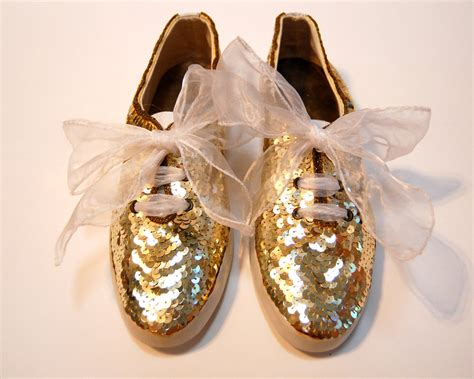 gold sequin shoes 80s gold sequin and beaded tennis shoes sneakers size 9