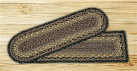 Braided Stair Tread Rugs by Earth Rugs Brown Black Charcoal Braided Stair Treads