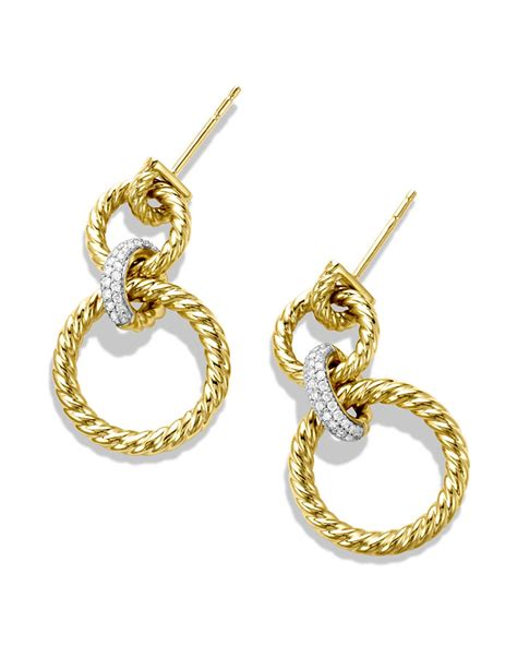 david yurman cable doorknocker earrings with diamonds in