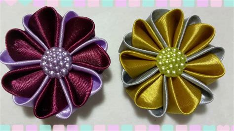 kanzashi diy kreasi bunga dari pita satin how to make