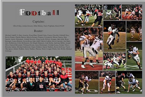 yearbook layout ideas for sports warde yearbook 2011 2012 varsity football page yearbooks