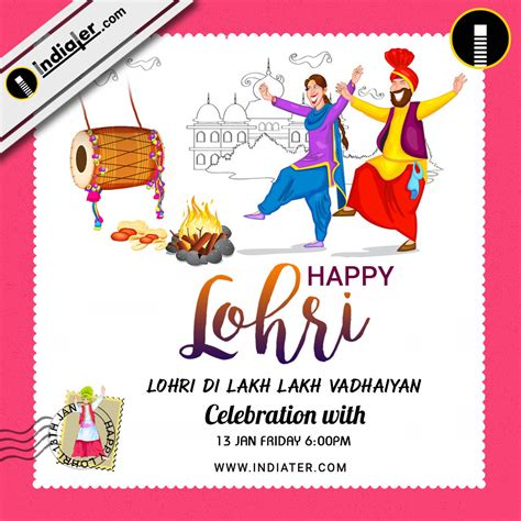 Happy Lohri Invitation Postcard Greetings Design Psd Template Indiater Lohri Invitation Templates