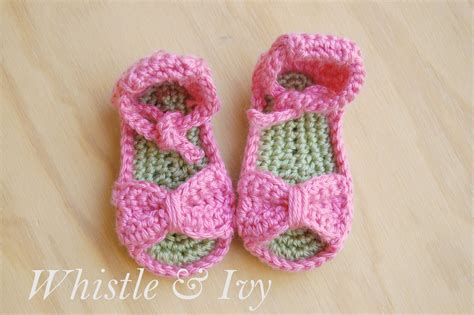 free crochet patterns for baby sandals bitty bow baby sandals pattern whistle and