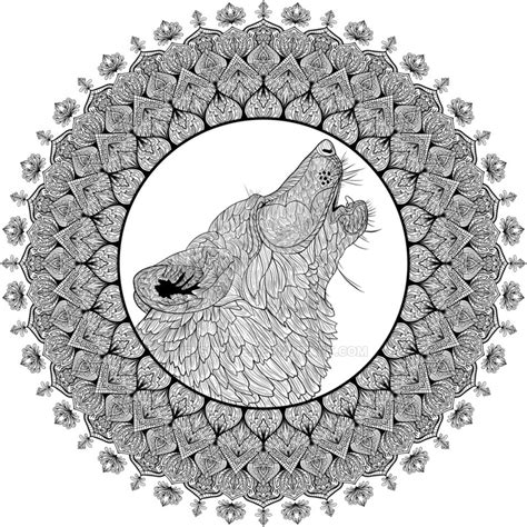 Howling Wolf Mandala by WelshPixie on DeviantArt