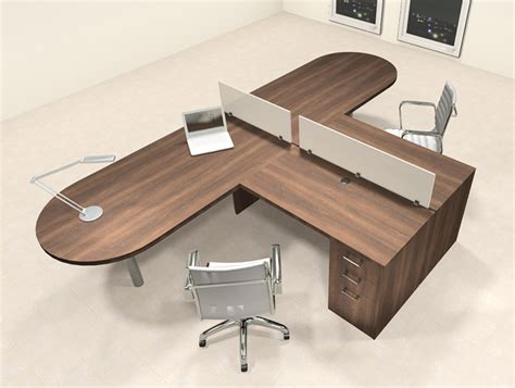 2 Person L Shaped Desk Two Person L Shaped Modern Divider Office Workstation Desk Set Ch Amb Sp19 H2o Furniture