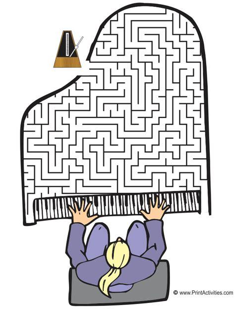 Printable Music Maze | grand piano maze shaped like a grand piano