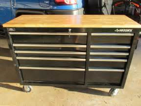 husky work bench husky 52 in 10 drawer mobile workbench with solid wood