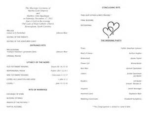catholic wedding programs catholic wedding program template 5