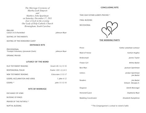 catholic wedding program template catholic wedding program template 5