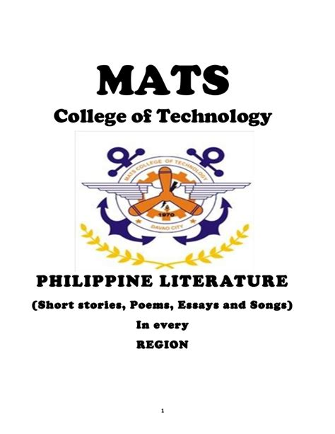Mat College mats college of technology philippine literature