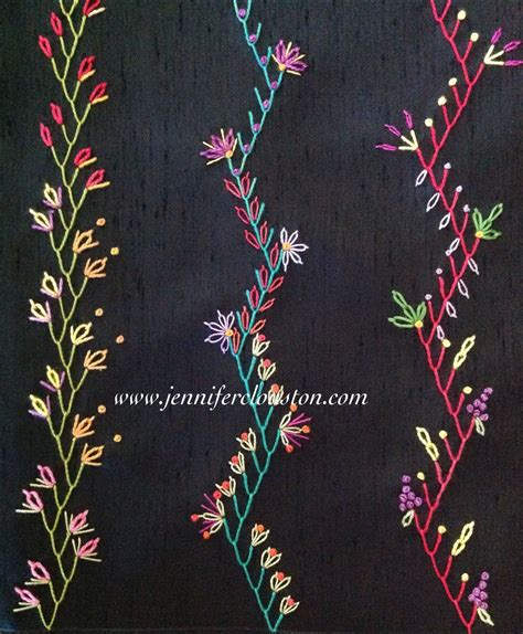 Patchwork Embroidery - embroidery feather stitch quilting