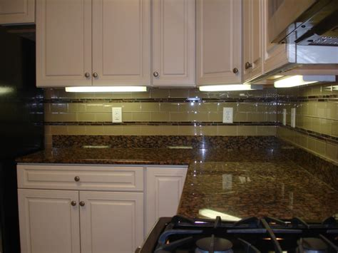 Tile Borders For Kitchen Backsplash Glass 3x6 Kitchen Tile Backsplash With Two Granite And Glass Stick Borders New Jersey Custom Tile