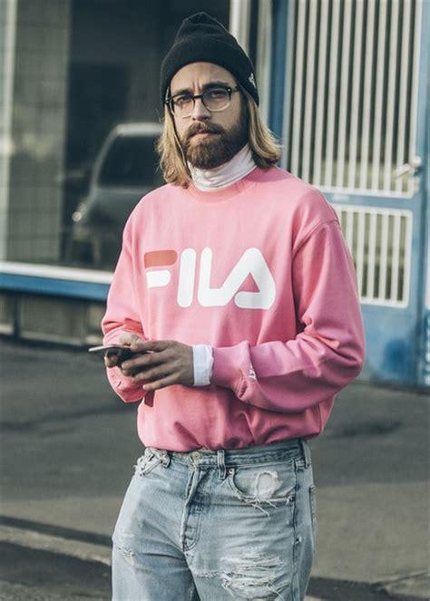 vintage supreme clothing sweater crewneck fila sportswear pink pastel pastel