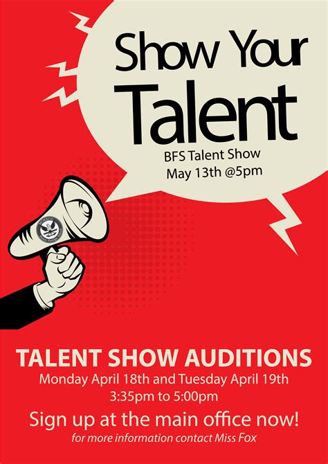 Talent Show Audition Busan Foreign School Free Printable Talent Show Flyer Template