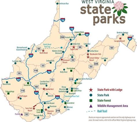 state parks in map wv state map with park locations rv state parks wv
