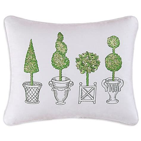 green throw pillows for bed boxwood abby topiary embroidered oblong throw pillow in