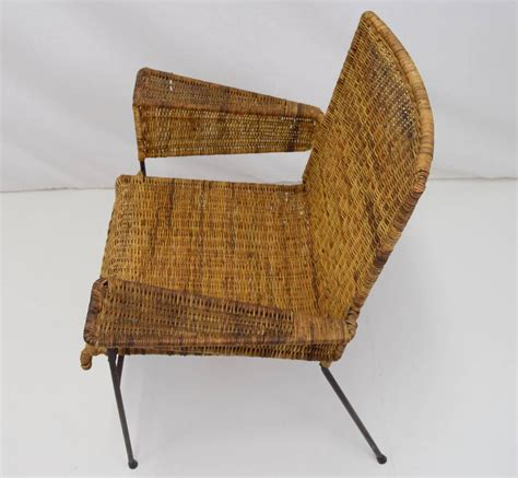 keppel green iron and wicker lounge chair for sale at